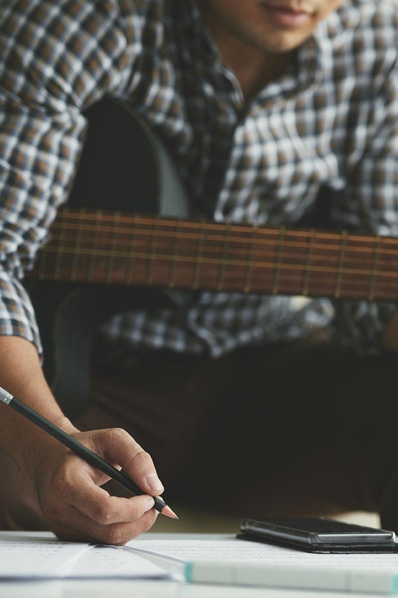 musician writing music
