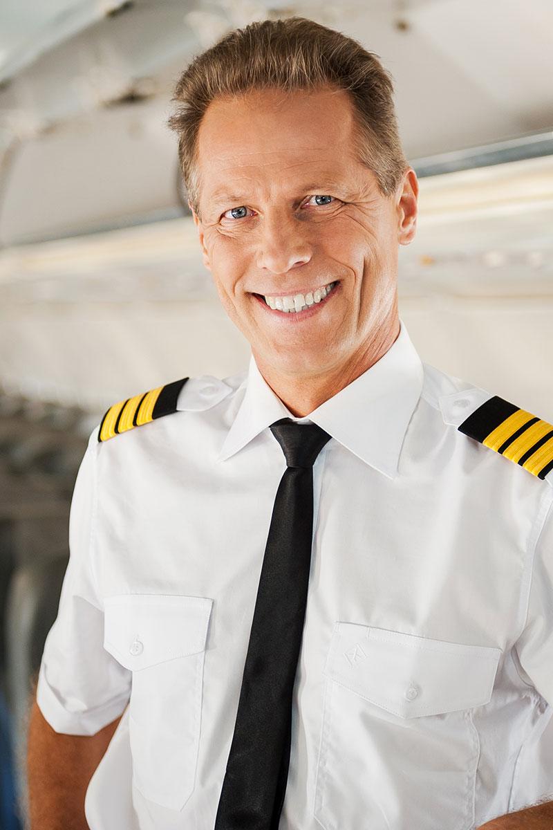 airline jet pilot smiling