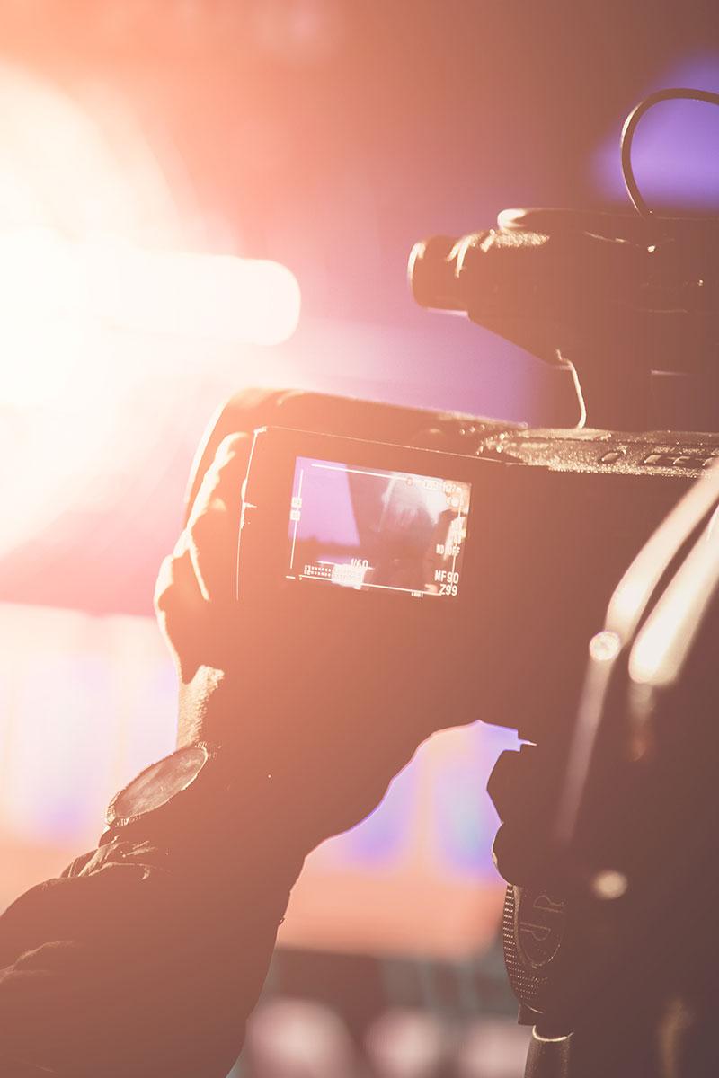 close up of camera filming