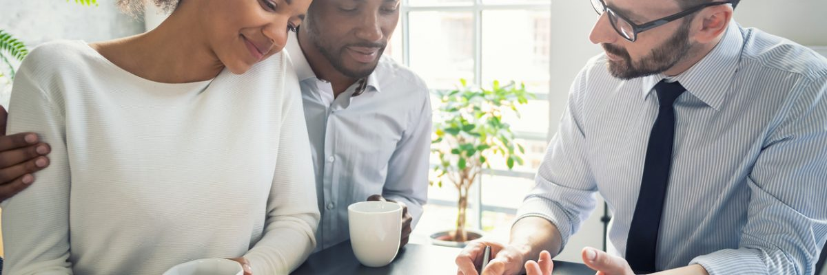 Family couple consultations with a mortgage broker