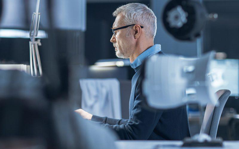focused in shot of an engineer working